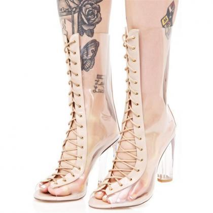 Women sexy clear transparent calf-h..