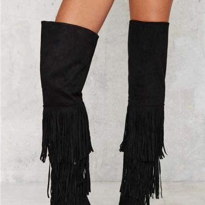 Black tassel Faux Suede Over-the-Kn..