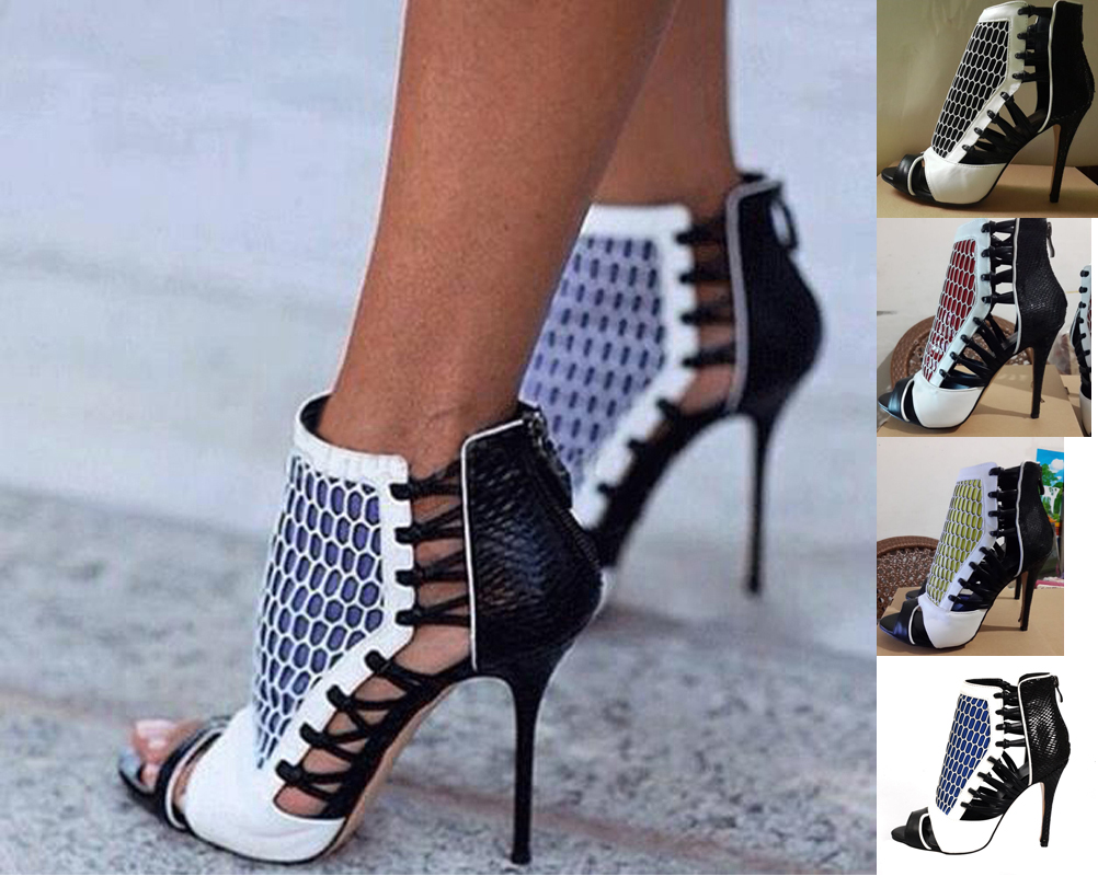 Free shipping 2015 new summer women sandals high heel shoes fashion black cut-out big size EU size 34--46
