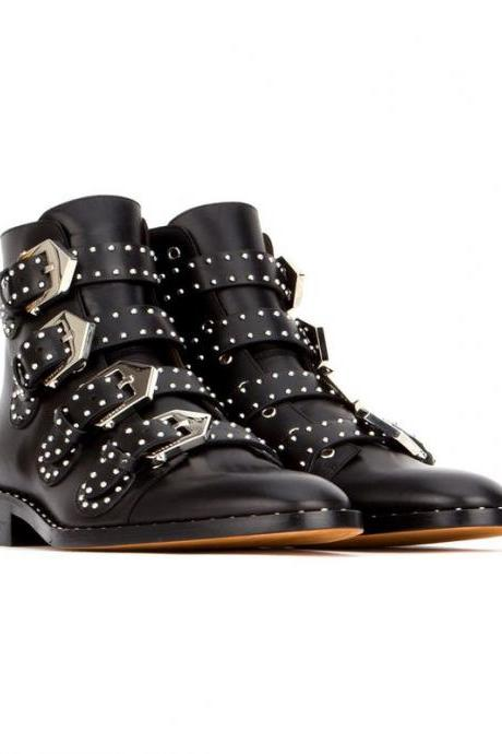ZK fashion and sexy women's Ankle Boots genuine leather Rivets boots size