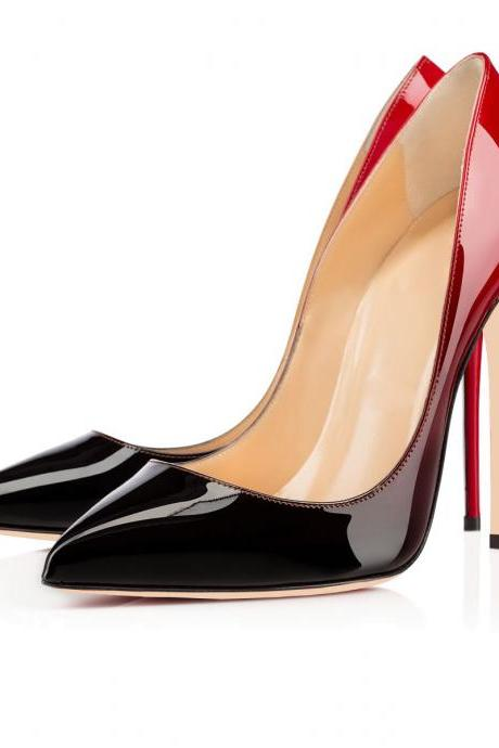 Pointed Toe Patent Leather Stiletto Pumps Featuring A Red Gradient Shade