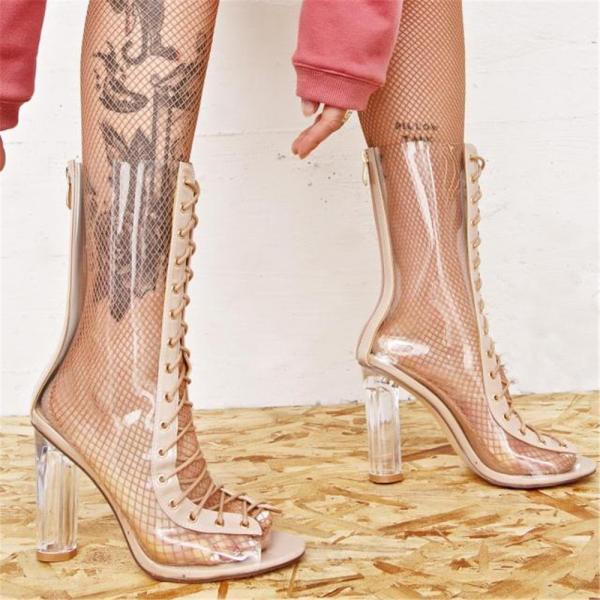 Women sexy clear transparent calf-high boots PU material back zip open toe front lace up high heels sheepskin insole