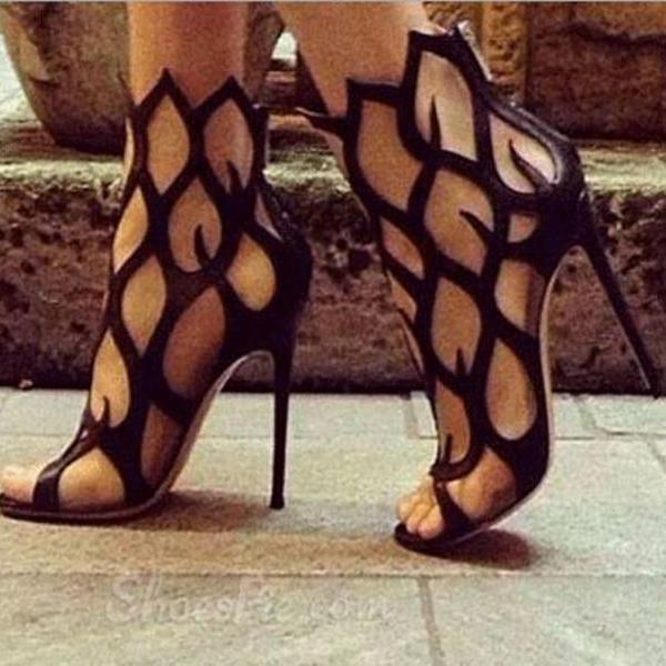 2015 new summer fashion black cut-out women sandals high heel shoes big size EU size 34--46