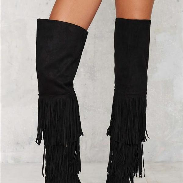 Black tassel Faux Suede Over-the-Knee Pointed Toe High Heel Boots